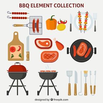 Coleção de elementos de churrasco em design plano