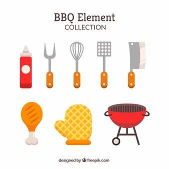 Coleção de elementos de churrasco em estilo plano