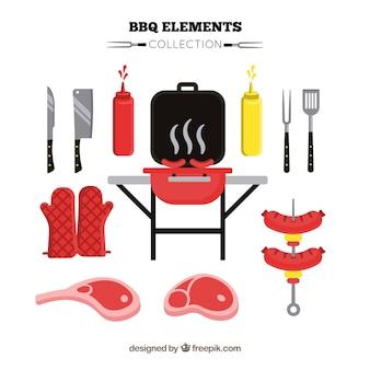 Coleção de elementos de churrasco