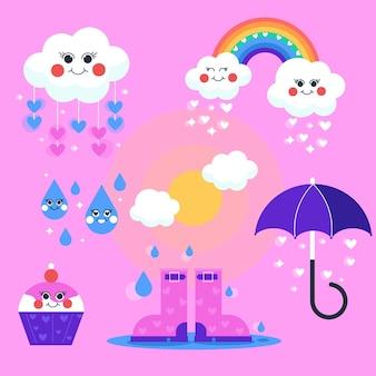 Coleção de elementos de chuva de amor com design plano