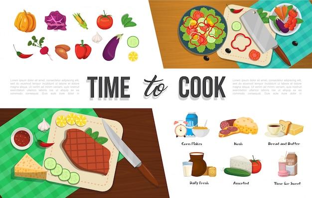 Coleção de elementos de comida plana e saudável com vegetais naturais, flocos de milho, café, carne, pão, manteiga, laticínios, macaroon, leite com chocolate
