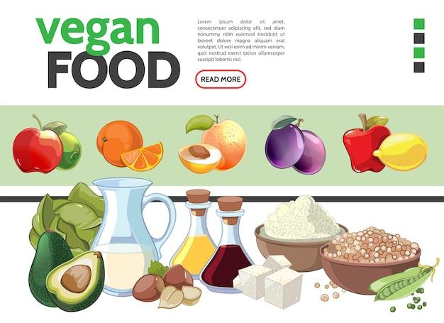 Coleção de elementos de comida vegetariana de desenho animado