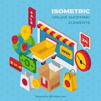 Coleção de elementos de compras isométricos