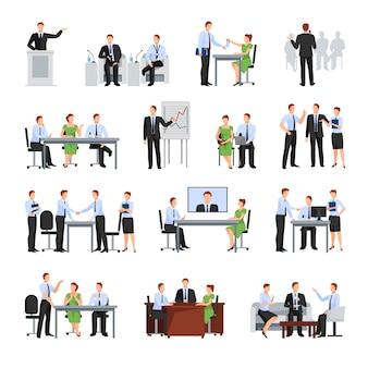 Coleção de elementos de conferência de negócios