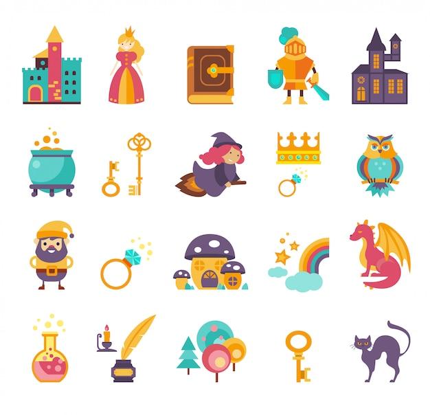 Coleção de elementos de conto de fadas, ícones