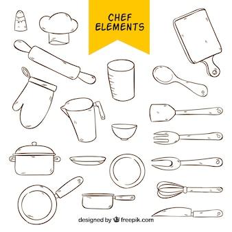 Coleção de elementos de cozinha desenhados à mão