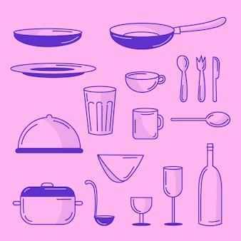 Coleção de elementos de cozinha rabiscada