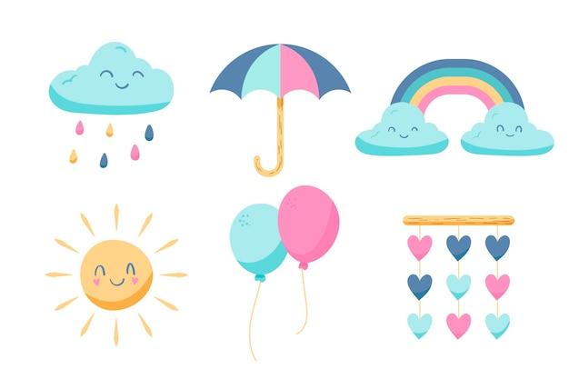 Coleção de elementos de decoração de chuva de amor desenhada à mão