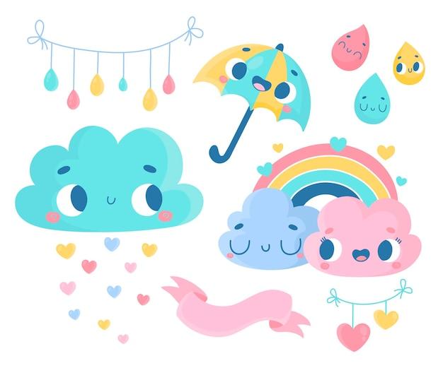Coleção de elementos de decoração de desenho animado plana linda chuva de amor