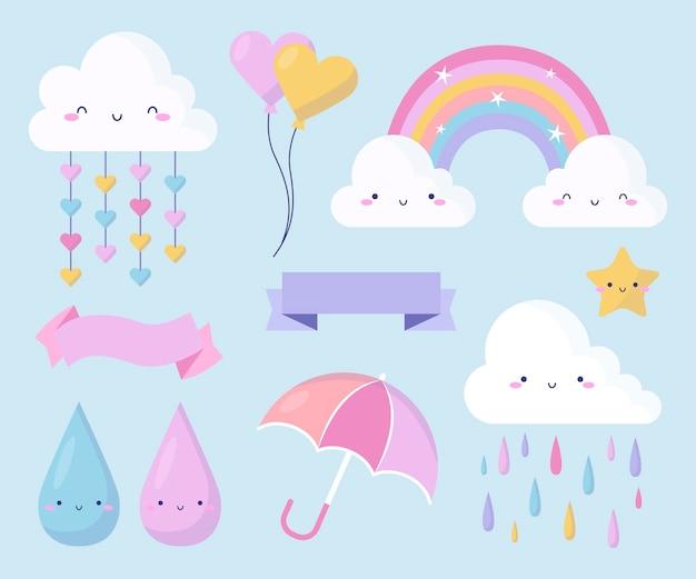 Coleção de elementos de decoração flat chuva de amor