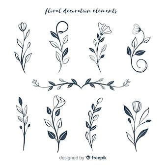 Coleção de elementos de decoração floral