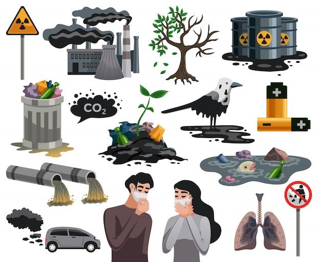 Coleção de elementos de desastres ecológicos