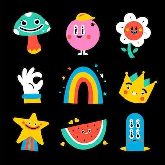 Coleção de elementos de desenho animado da moda