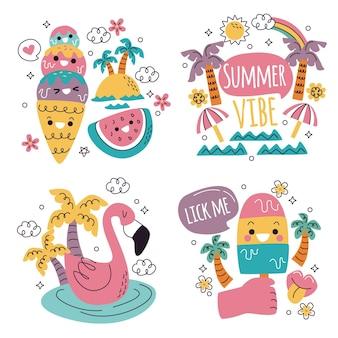 Coleção de elementos de desenho animado de verão