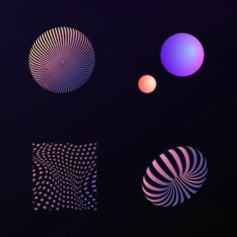 Coleção de elementos de design 3d abstrato