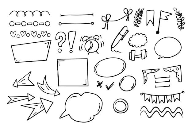 Coleção de elementos de design desenhado à mão