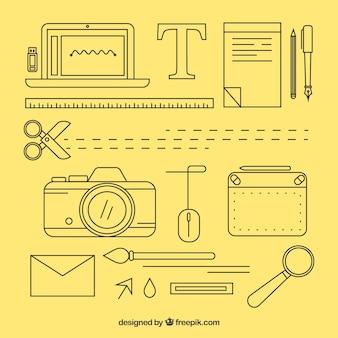 Coleção de elementos de design gráfico em estilo simples