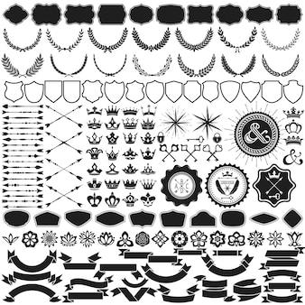 Coleção de elementos de design para criação de crista