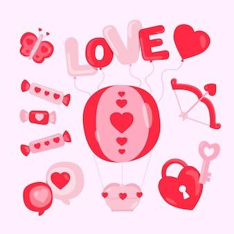 Coleção de elementos de design plano dia dos namorados