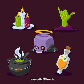 Coleção de elementos de design plano halloween