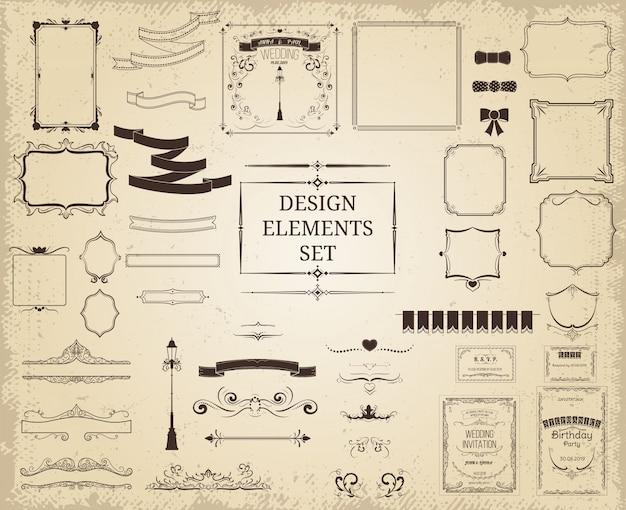 Coleção de elementos de design vintage