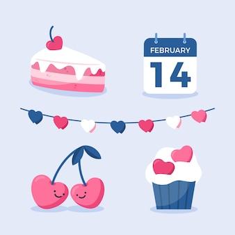 Coleção de elementos de dia dos namorados calendário e doces