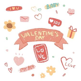 Coleção de elementos de dia dos namorados com corações desenhados à mão.