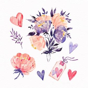 Coleção de elementos de dia dos namorados em aquarela