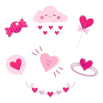 Coleção de elementos de dia dos namorados em design plano com nuvem e anel