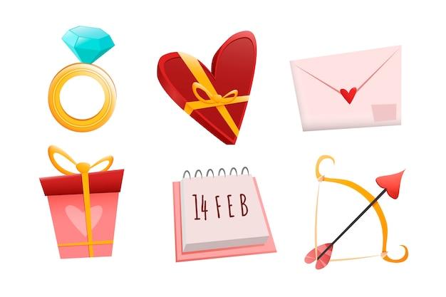 Coleção de elementos de dia dos namorados em design plano