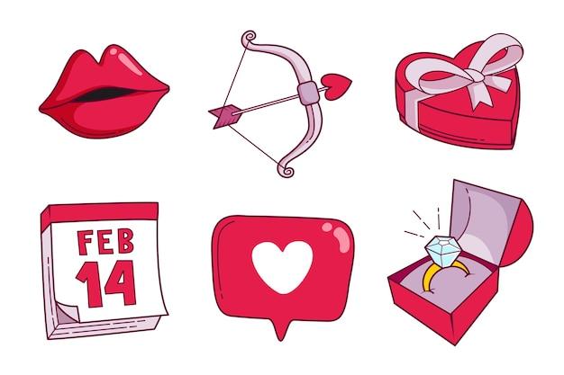 Coleção de elementos de dia dos namorados plana