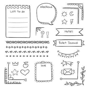 Coleção de elementos de diário com marcadores desenhados à mão