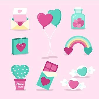 Coleção de elementos de doces e objetos dos namorados