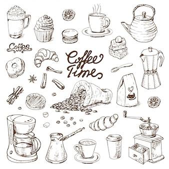 Coleção de elementos de doodle café para menu de café