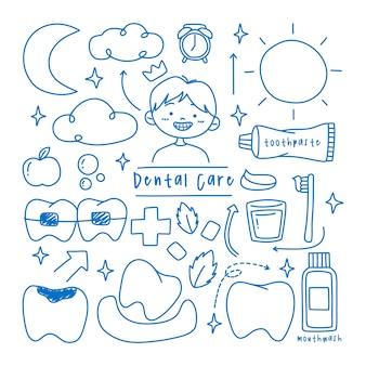 Coleção de elementos de doodle de cuidados dentários infantis
