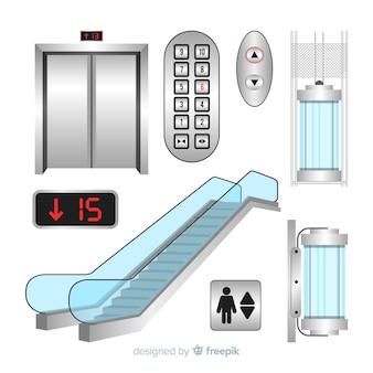 Coleção de elementos de elevador com design realista