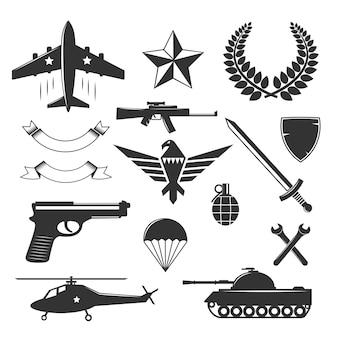 Coleção de elementos de emblema militar