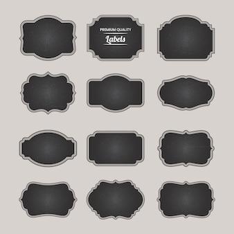 Coleção de elementos de emblemas em branco do quadro-negro