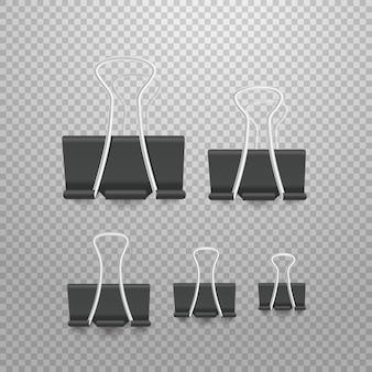 Coleção de elementos de escritório de clipe de papel de tamanho diferente. pinos isolados em transparente