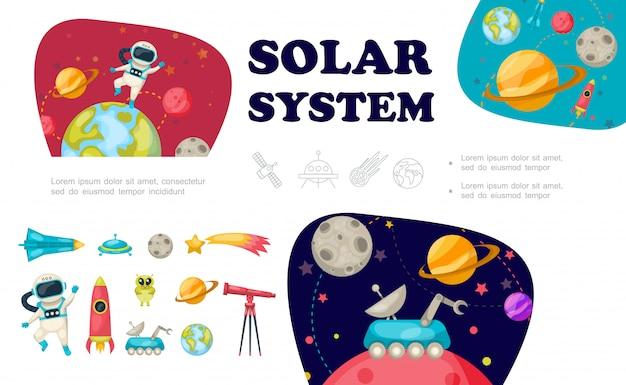 Coleção de elementos de espaço plano com astronauta nave espacial ufo alienígena telescópio meteorológico foguete moon rover sistema solar