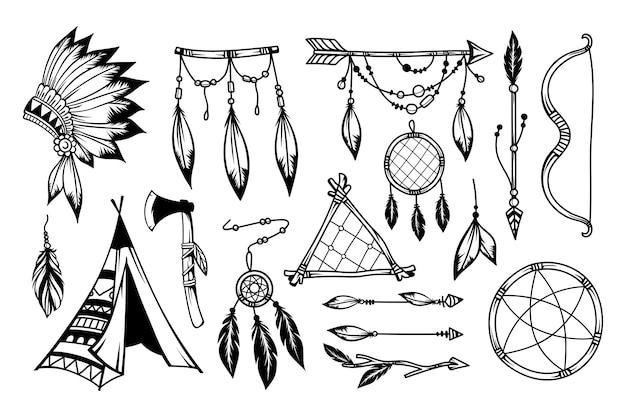 Coleção de elementos de estilo boho desenhada à mão