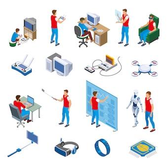 Coleção de elementos de evolução de gadgets digitais