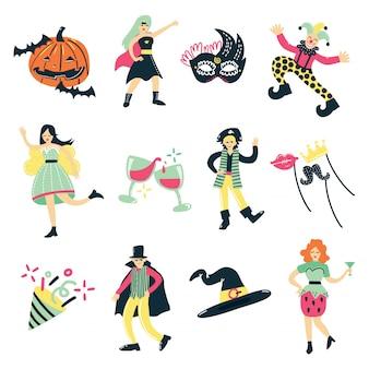 Coleção de elementos de fantasia de baile de máscaras