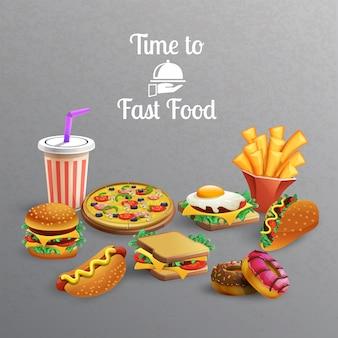 Coleção de elementos de fast-food