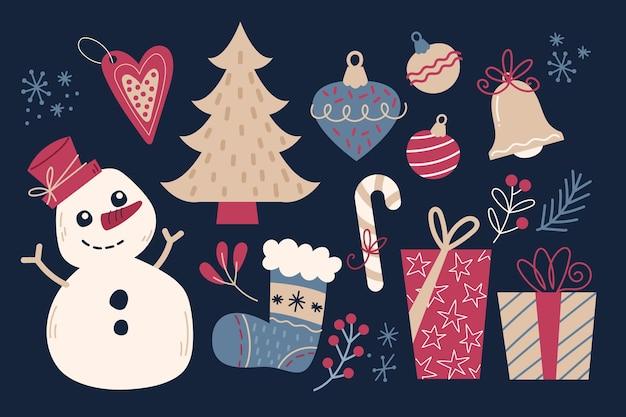 Coleção de elementos de feliz natal desenhado à mão