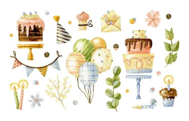 Coleção de elementos de festa de aniversário de bandeiras de balões de ar de bolos de aniversário