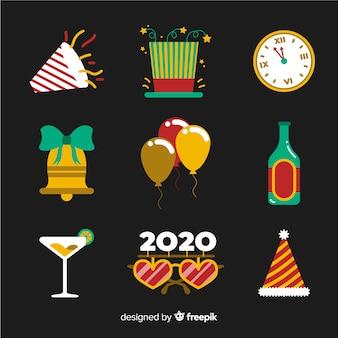 Coleção de elementos de festa de ano novo de design plano