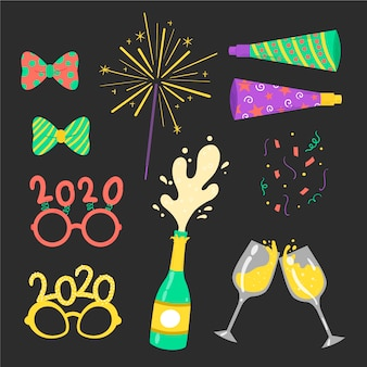 Coleção de elementos de festa de ano novo de mão desenhada