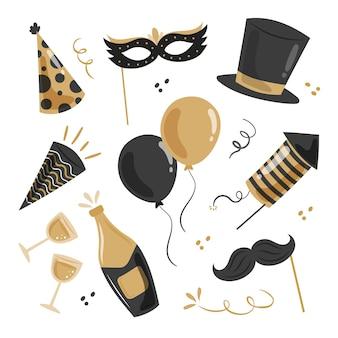 Coleção de elementos de festa de ano novo desenhada à mão