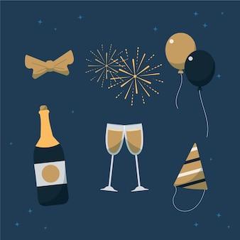 Coleção de elementos de festa de ano novo em design plano